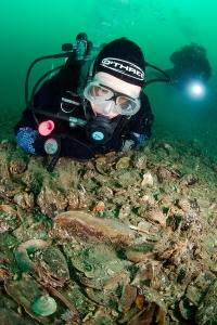 Sally Rouse Diving with fan mussels in Orkeny. Photo courtesy of Paul Kay.