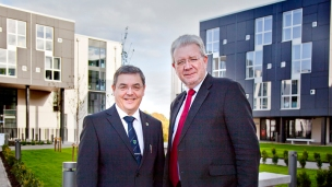 Vice-Chancellor Professor Steve Chapman and Mike Russell MSP opening the Christina Miller Halls of Residence