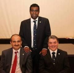 Toby with Prof. Ammar Kaka, Head of Dubai Campus (left) and Prof. Steve Chapman, Principal and Vice-Chancellor of Heriot-Watt University