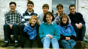 Part of the Heriot-Watt Christian Union Committee in 1997 - Gayle in the front left