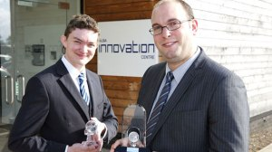 HWU start-ups at the Alba Awards. Dan Arnold of Epistemy and Nicholas Psaila of Optoscribe.